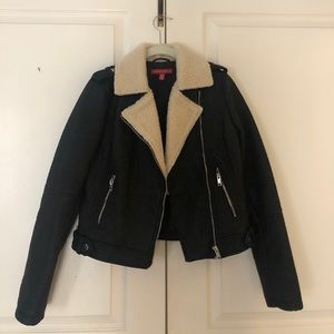 Black leather Sherpa jacket